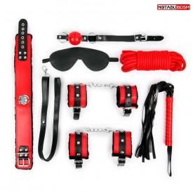 Оригинальный красно-черный набор БДСМ: маска, кляп, верёвка, плётка, ошейник, наручники, оковы